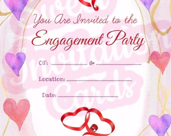 Purple water color hearts engagement invitation