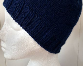 Navy Blue Wool Knitted Beanie