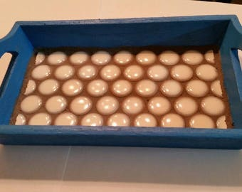 5x8 tiled tray blue with white penny