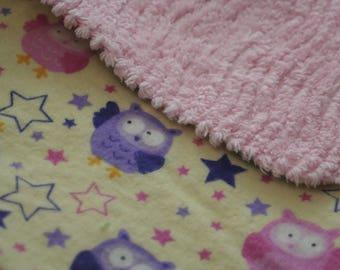 Stargazing Owls Flannel Print Shag Minky Backed Baby Blanket