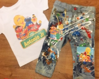 sesame streetl pants/shorts set