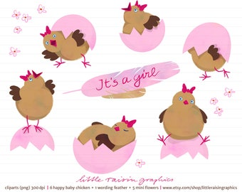 Happy baby chicken clipart set girl . download . freshly hatched . cute . baby shower . Baby is here