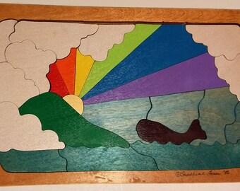 Handmade Wooden Jigsaw Puzzle - Whale Rainbow Harbor