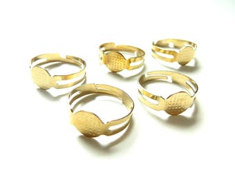 10 blank Gold support Adjustable ring 8mm