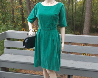 1960s green velvet dress custom made