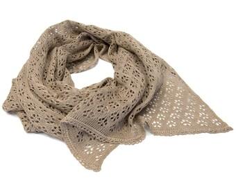 100 % Linen Knitted Scarf, Beige Linen Scarf, Autumn Scarf, Linen Shawl, 55 x 230 cm
