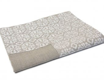 Natural Linen Hesmtitched Tablecloth, Linen Jacquard Border 90cm X 90cm