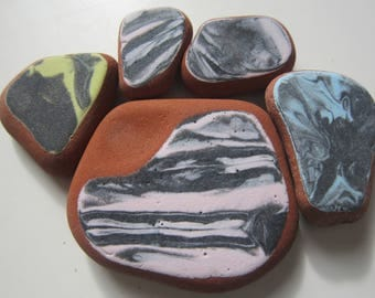 5pcs Sea Pottery; Beach Pottery for Crafts, Collection, Mosaic/Art. C-26