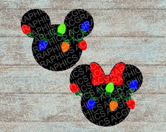 Tangled Lights Mickey and Minnie Mouse Heads SVG, DXF, JPEG, and Studio Downloads