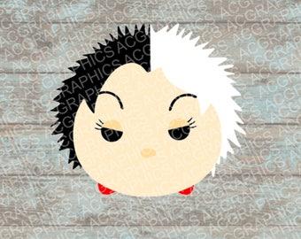Cruella Tsum Tsum SVG, DXF, JPEG, and Studio Downloads