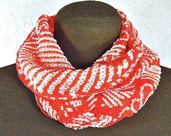 Japanese Silk Scarf - Vintage Red Silk Scarf, Silk Belt – Japanese Shibori Hand-dyed Silk – Silk Neck Scarf – Japanese Obi Silk Scarf