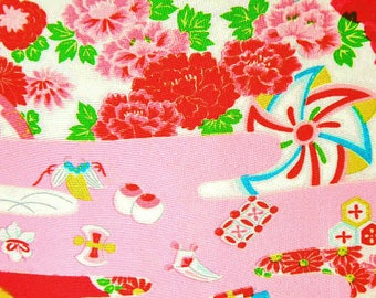 Vintage Japanese Silk Fabric – Japanese Outdoor Scene - Childrens Kimono Fabric, Made in Japan – Colorful Red Silk Fabric – Unused Bolt