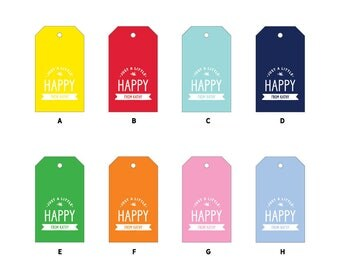 """24 """"Happy"""" Gift Tags with String, 2x3.5"""