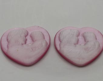 Pair of Pink and White Cameo - Fiber Optic 20mm