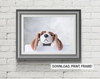 Puppy print,Baby room decor,Wall art,Peekaboo Puppy,Dog print,Nursery Room Print,Nursery Room Wall Art,Puppy photo, Baby room art