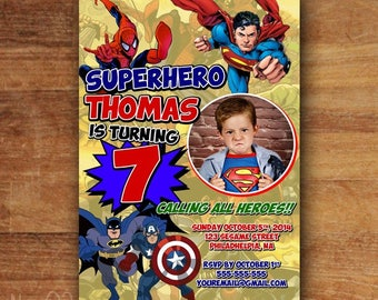 Superhero  Invitations, Super hero Invitation, Super hero Party, Superhero  Birthday Invitation, Superhero Invitation, Superhero Comic Party
