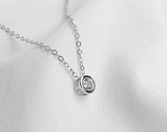 Silver Circle Zirconia Necklace, Sterling Silver, Dainty Zirconia Pendant Necklace, Modern Necklace, Handmade Necklace, XIEandCOJewellery