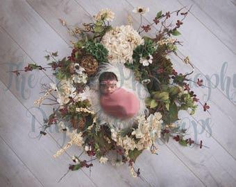 Flower Wreath Digital Backdrop for Newborns