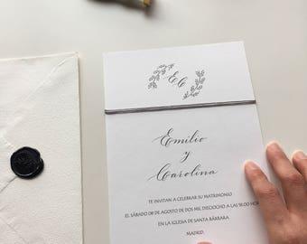 Wedding invitations, original invitations, personalized invitations, elegant invitations, wedding invitations, invitations B & W