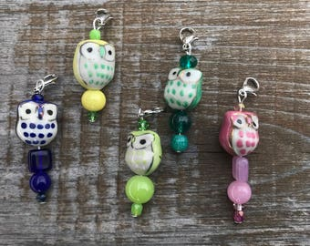 Owl Zipper Pull Charm, Zipper Charm, Owl Stitch Marker, Progress Keeper, Zipper Pull, Zipper Pulls for Purses, Owl Gifts, Inexpensive Gift
