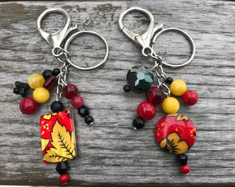 Keychains for Women, Flower Keychain, Bag Charm, Purse Charm for Handbags, Beaded Keychain, Bookbag Charm, Gardener Gift, Gift for Her