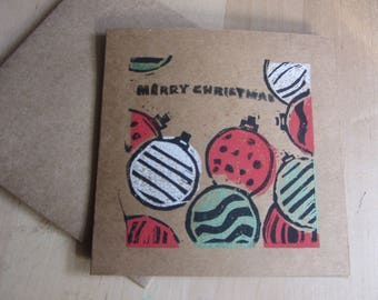 Lino printed bauble Christmas card on kraft card