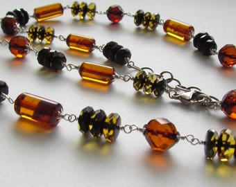 Baltic Amber Faceted Barrel shape Faceted Round Cognac Amber Chain Link Necklace