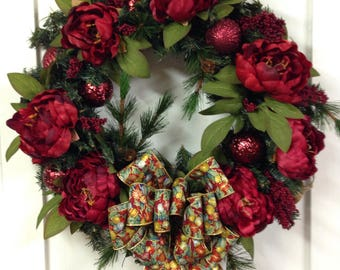 Christmas Pine Christmas Red Peony Front Door Wreath Holiday Rustic Winter Wreath Rustic Berry Wreath Winter Wreaths for Front Door