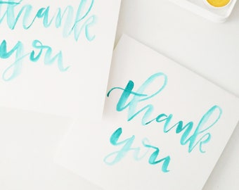 Handmade set of 4- thank you cards- watercolor calligraphy