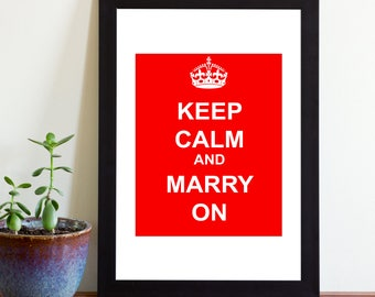 Printable Keep Calm and Marry On Sign, Printable Wedding Sign, Instant Download