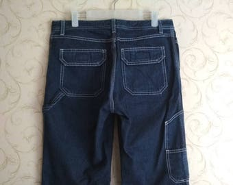 Vintage United Colors Of Benetton Womens Worker Jeans Workwear Carpenter Bootcut Denim Pants Snap Button Made in Italy Size 44