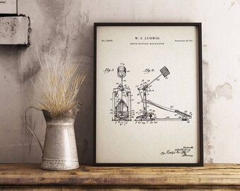 Drum Kick Pedal Printables, Gifts for Drummer, Bass Drum Pedal, Drum Decor, Kick Pedal Blueprint - Wall Art - Blue Print
