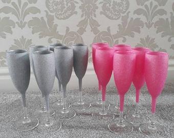 12 glittered champagne glasses