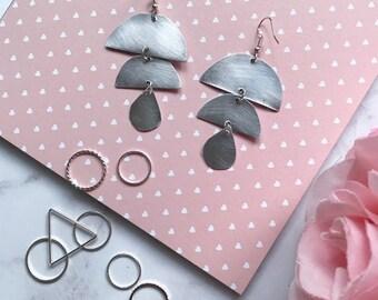 Geometric Circular Drop Earrings    Silver & Aluminium