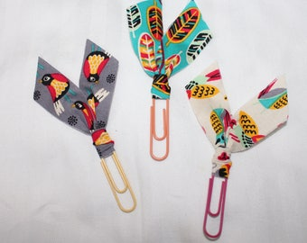 Set of THREE LARGE Planner Clips / Bible Journaling Clips / Fabric Clips / Fancy Paper Clips / Fabric Bookmarks / Fabric Page Marker