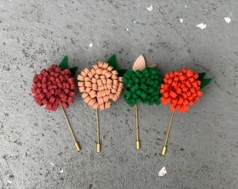 Mens Lapel Pins, Floral Lapel Pins, Boutonniere pins, felt flower stick pins, fall lapel stick pin