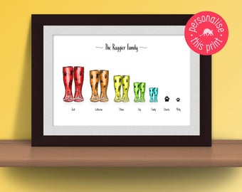 Customisable Wellington Boot Print, Personalised Print, Family Print, Wellington Boot Print, Wellies, Gift for the Family, Gift for Friends