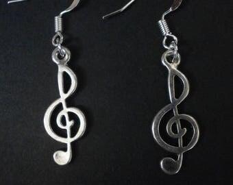 Tibetan Silver Earrings Violin Key!!!