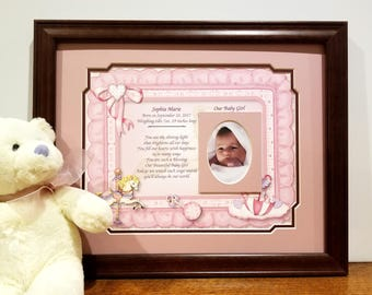 New Baby Gift, Baby Picture Frame, Personalized, Gift for new Parents, Baby Girl Frames, Nursery Frames, Baby Announcement, New Baby Gifts
