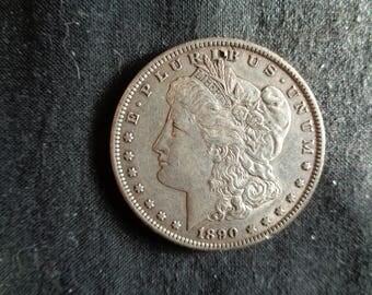 1890 S circulated Morgan Dollar