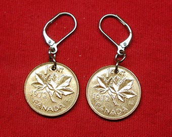 1972 earrings made with real under Canadians from 1972