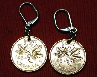 1964 earrings made with real under 1964 Canadian