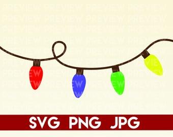 Christmas Lights SVG, PNG, JPG // Silhouette and Cricut Cut File Clipart Printable Vinyl Sticker T Shirt Design for Winter