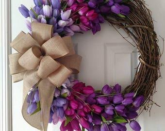 Shades of Purple Grapevine Wreath