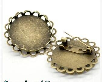 1 pcs-pin support Cabochon 25 mm bronze metal pins