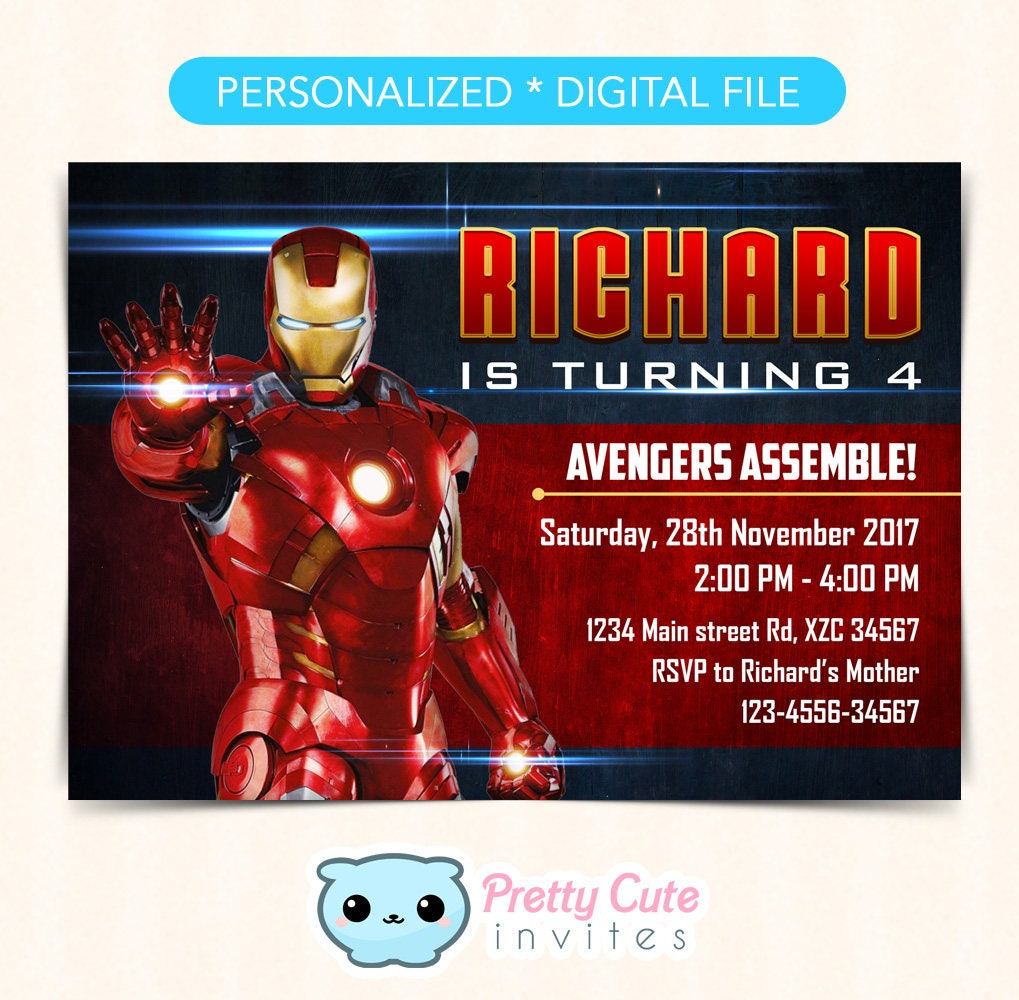 Iron Man Invitation, Iron Man Birthday invitation, Iron Man Party ...