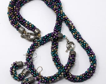 Multicolor Kumihimo Necklace Set
