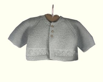Hand Knitted Baby Wool Cardigan - Gray