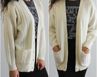 Off White Ivory Knit Long Tunic Cardigan Granny Sweater with Pockets Angora/Lambswool S/M