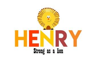 Lion name print